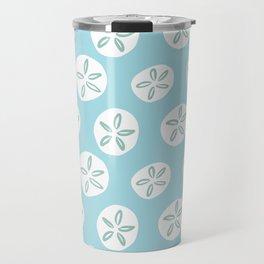 Sand Dollars Sea Urchin in Blue Travel Mug