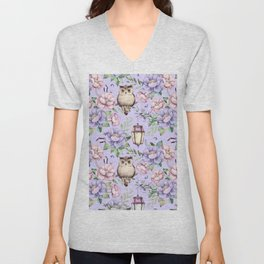 Hand painted blush pink lavender watercolor owl floral Unisex V-Neck