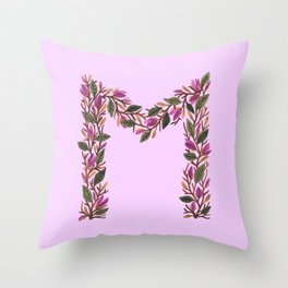 Leafy Letter M Throw Pillow