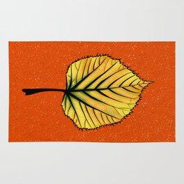 Yellow Linden Leaf On Orange Botanical Art Rug
