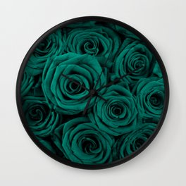 emerald green roses Wall Clock