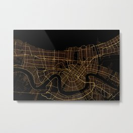 Black and gold New Orleans map Metal Print