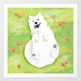 Happy Samoyed Art Print