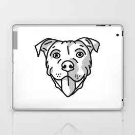 Pitbull Dog Print - black and white halftone Laptop & iPad Skin