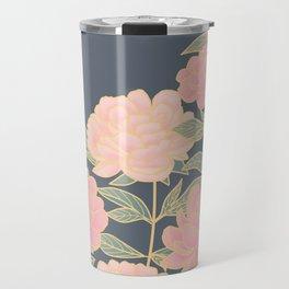 Pink peonies vintage pattern Travel Mug