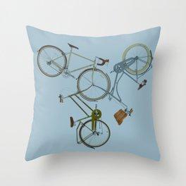 3 bikes Throw Pillow