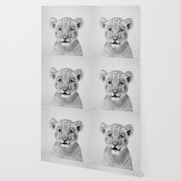 Baby Lion - Black & White Wallpaper
