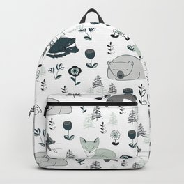Sleepy Woodland Animals - Mint Backpack
