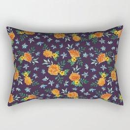 Dark Floral: Marigolds and Borage Rectangular Pillow