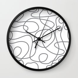 Doodle Line Art | Gray Lines on White Wall Clock