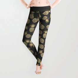 Modern chalk black elegant faux gold pineapple pattern Leggings
