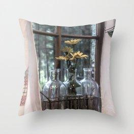Bottled Flowers Throw Pillow