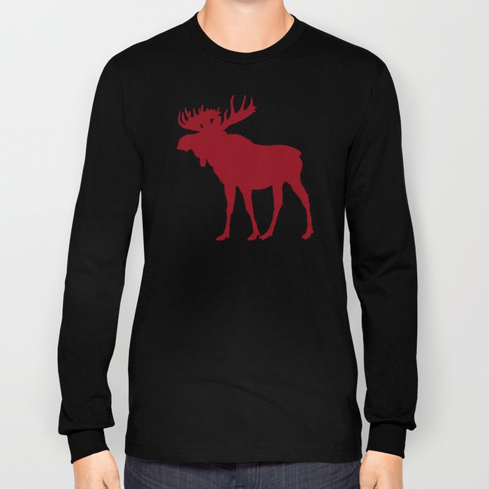 Moose: Rustic Red Long Sleeve T-shirt