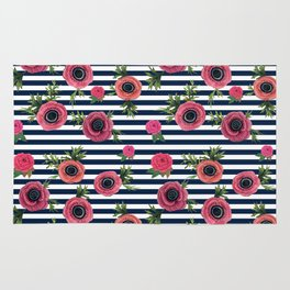 Watercolor Flowers with Nautical Stripes Rug