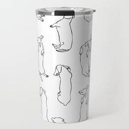 Dachshund Sleep Study Pattern. Sketches of my pet dachshund's sleeping positions. Travel Mug