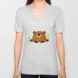 Adorable Groundhog Pattern Unisex V-Neck