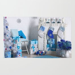 Christmas interior in blue color. Christmas tree with fireplace, Christmas holiday and New Year back Rug