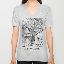 PHILADELPHIA PENNSYLVANIA BLACK CITY STREET MAP ART Unisex V-Neck