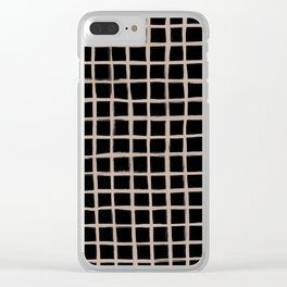 Strokes Grid - Nude on Black Clear iPhone Case