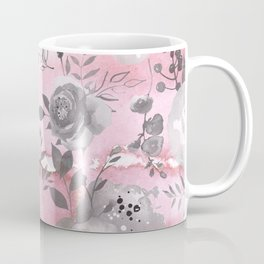 berry juice floral watercolor pink gray Coffee Mug