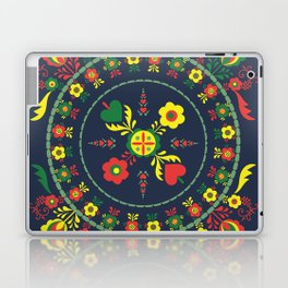 Folk Flowers with Green  Border Laptop & iPad Skin