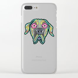 Great Dane with Floppy Ears - Day of the Dead Sugar Skull Dog Clear iPhone Case