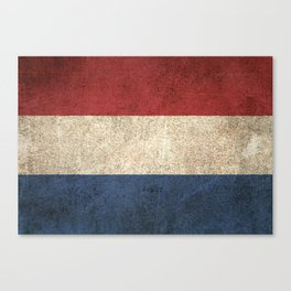 Old and Worn Distressed Vintage Flag of The Netherlands Canvas Print