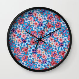 Blue Cascading Floral Chirimen Wall Clock