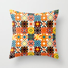 Maroccan tiles pattern with red an blue no2 Throw Pillow