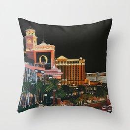 Las Vegas Strip Oil On Canvas Throw Pillow