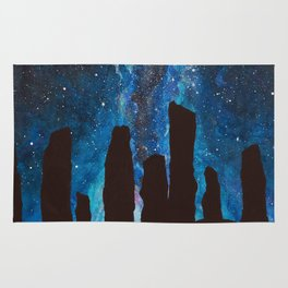 Outlander Craigh Na Dun Standing Stones Watercolor Painting with milky way galaxy Rug