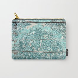 Teal & Aqua Botanical Doodle on Weathered Wood Carry-All Pouch