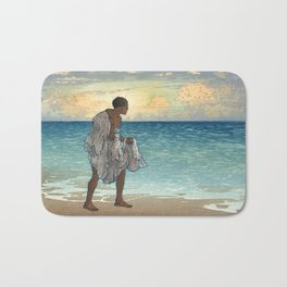 Hawaiian Fisherman Woodcut, 1920s Bath Mat
