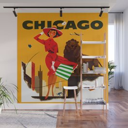 Vintage Chicago Illinois Travel Wall Mural
