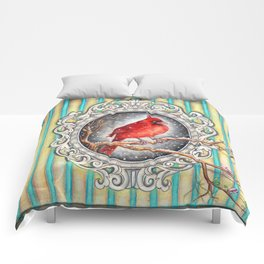 RED CARDINAL in FRAME Comforters