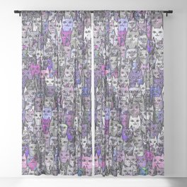 Ultraviolet Gemstone Cats Sheer Curtain