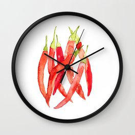 Watercolor Chilies Wall Clock