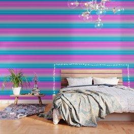 Pink & Aquamarine Blue Stripes Wallpaper