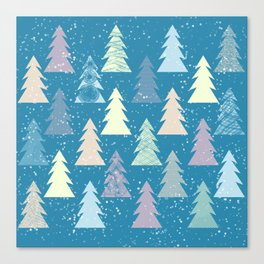 Winter in the forest with snow Canvas Print