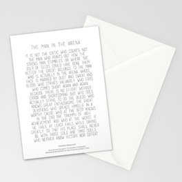 The Man In The Arena by Theodore Roosevelt 2 #minimalism Stationery Cards
