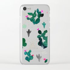Pink Dusk Moon Cactus Clear iPhone Case