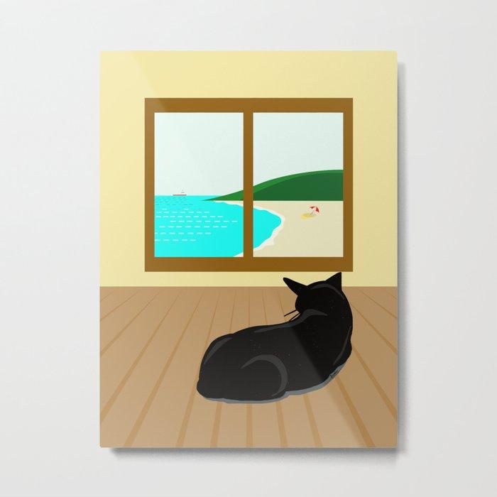 Landscape and cat Metal Print