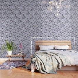 Dragonflies, Butterflies and Moths With Plants on Pale Blue Wallpaper