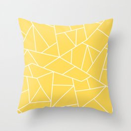 White Mosaic Lines On Mustard Yellow Throw Pillow