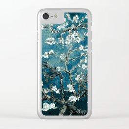 Van Gogh Almond Blossoms : Dark Teal Clear iPhone Case