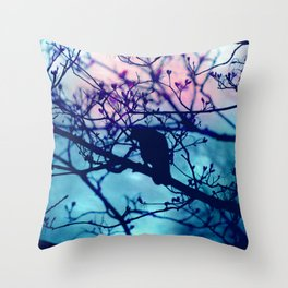 Raven in the night Throw Pillow
