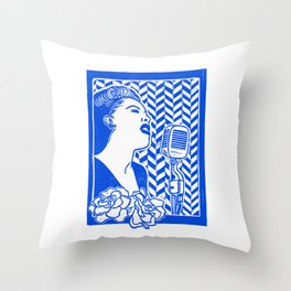 Lady Day (Billie Holiday block print) Throw Pillow