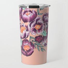 Peach and Purple Floral Travel Mug