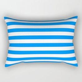 Horizontal Stripes (Azure/White) Rectangular Pillow