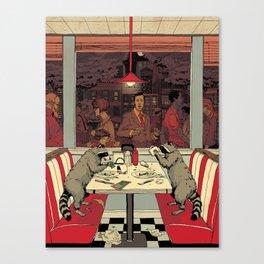 Raccoon Diners Canvas Print
